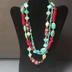 Boho turquoise coral silver 3 strand club necklace